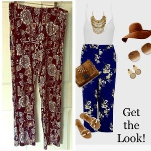 Palazzo Pants Wilde 2X Navy Blue Floral Stretch